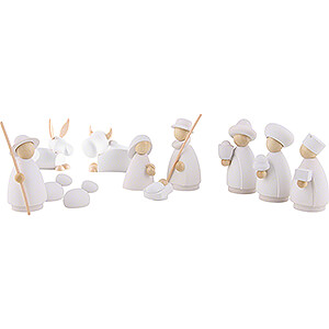 Nativity Figurines All Nativity Figurines Nativity Set of 11 Pieces White/Natural - Small - 7 cm / 2.8 inch