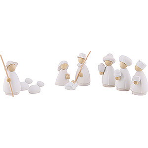 Nativity Figurines All Nativity Figurines Nativity Set of 9 Pieces White/Natural - Small - 7 cm / 2.8 inch
