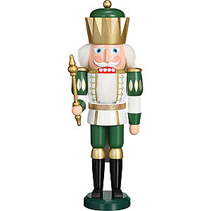 Nussknacker Könige Nussknacker Exklusiv König weiß-grün - 40 cm