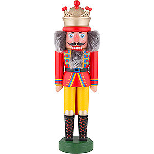 Nussknacker Könige Nussknacker König mit Krone rot-gelb matt - 31 cm