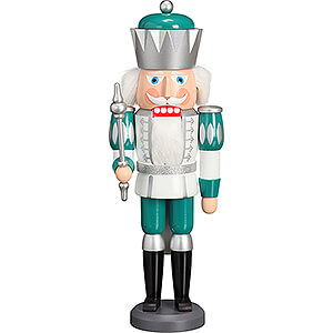 Nutcrackers Kings Nutcracker - King Exclusive White-Silver-Mint Turquoise - 40 cm / 15.7 inch