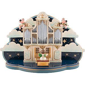 Weihnachtsengel Orchester (Hubrig) Orgel mit kleiner Wolke - 1.22 Musikwerk für Hubrig Engelorchester - 35x22x13 cm