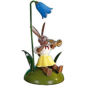 Kleine Figuren & Miniaturen Osterartikel Osterhase mit Glockenblume und Trompete, farbig - 10 cm