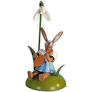 Kleine Figuren & Miniaturen Osterartikel Osterhase mit Schneeglöckchen und Mandoline, farbig - 10 cm