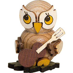 Small Figures & Ornaments Kuhnert Mini Owls Owl Child with Guitar - 4 cm / 1.6 inch