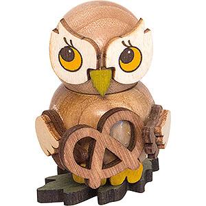 Small Figures & Ornaments Kuhnert Mini Owls Owl Child with Pretzel - 4 cm / 1.6 inch