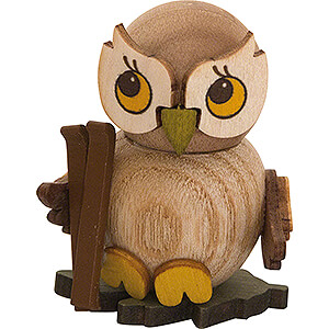 Small Figures & Ornaments Kuhnert Mini Owls Owl Child with Ski - 4 cm / 1.6 inch