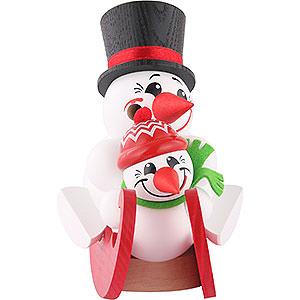 Räuchermänner Schneemänner Räuchermännchen Cool-Men auf Schlitten, Doppelsitzer - Kugelräucherfigur - 12 cm