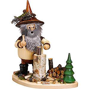 Räuchermänner Sonstige Figuren Räuchermännchen Waldwichtel auf Brett Holzhacker - 26 cm