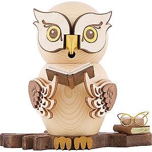 Räuchermänner Tiere Räuchereule mit Büchern - 15 cm
