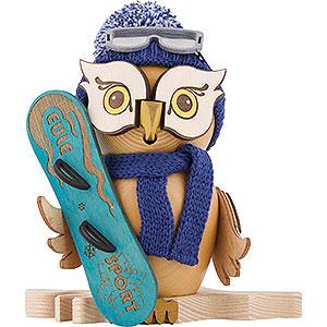 Räuchermänner Hobbies Räuchereule mit Snowboard - 15 cm