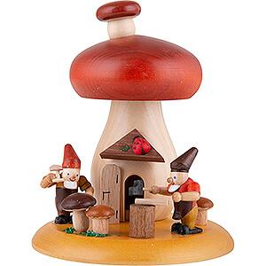 Räuchermänner Sonstige Figuren Räucherhaus Pilz mit Zwergen - 13 cm