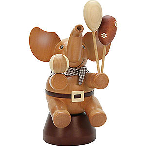 Räuchermänner Tiere Räuchermännchen Elefant mit Spielzeug natur - 20,0 cm
