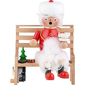 Räuchermänner Weihnachtsmänner Räuchermännchen Frau Santa auf der Bank - 23 cm