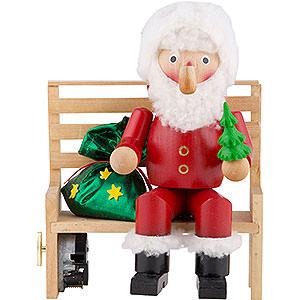 Räuchermänner Weihnachtsmänner Räuchermännchen Herr Santa auf der Bank - 22 cm