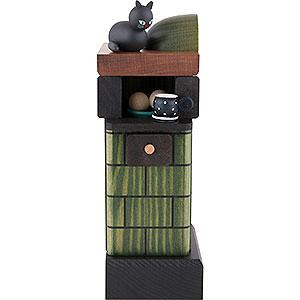 Räuchermänner Sonstige Figuren Räuchermännchen Kachelofen rauchend grün - 20 cm