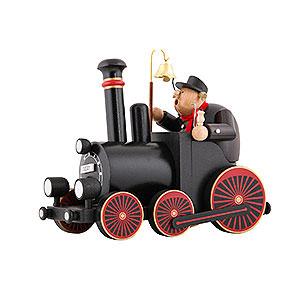 Räuchermänner KWO Eisenbahn Räuchermännchen Lokomotivführer mit Lokomotive - 29,5x21,5x13 cm