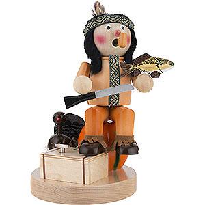 Räuchermänner Hobbies Räuchermännchen Musical Indianer mit Kürbis - 28 cm
