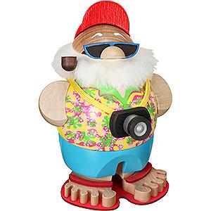 Räuchermänner Weihnachtsmänner Räuchermännchen Nikolaus Inkognito mit Kamera - Kugelräucherfigur - 11 cm