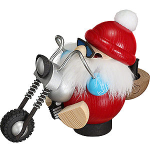 Räuchermänner Weihnachtsmänner Räuchermännchen Nikolaus auf Motorrad - Kugelräucherfigur - 11 cm