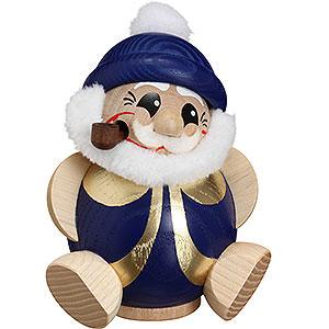Räuchermänner Weihnachtsmänner Räuchermännchen Nikolaus blau-gold -  Kugelräucherfigur   - 11 cm