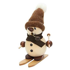 Räuchermänner Schneemänner Räuchermännchen Schneebub auf Ski natur - 12 cm