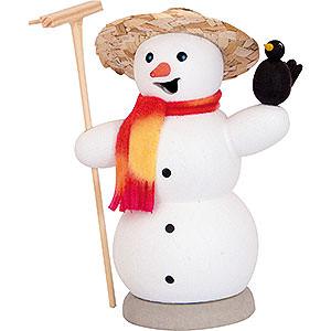 Räuchermänner Schneemänner Räuchermännchen Schneemann mit Rabe - 13 cm