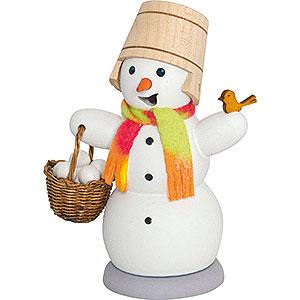Räuchermänner Schneemänner Räuchermännchen Schneemann mit Schneeballkorb - 13 cm