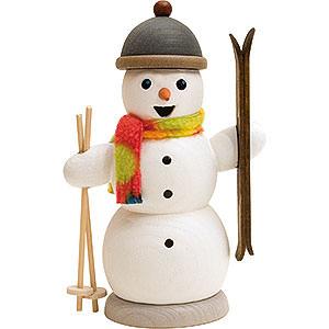 Räuchermänner Schneemänner Räuchermännchen Schneemann mit Skiern - 13 cm