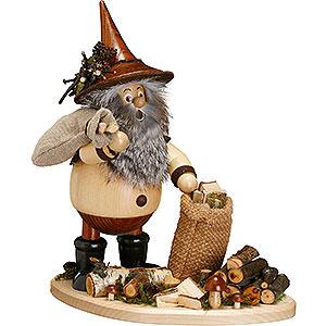 Räuchermänner Sonstige Figuren Räuchermännchen Waldwichtel auf Brett Astsammler - 26 cm