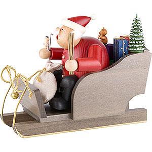Räuchermänner Weihnachtsmänner Räuchermännchen Weihnachtsmann auf Schlitten - 20 cm