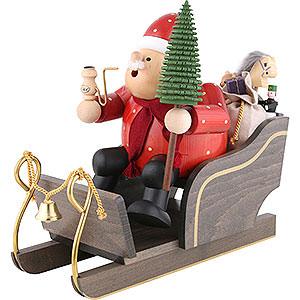 Räuchermänner Weihnachtsmänner Räuchermännchen Weihnachtsmann mit Schlitten - 30 cm