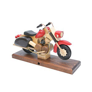 Räuchermänner Hobbies Räuchermotorrad Chopper rot 27x18x8 cm