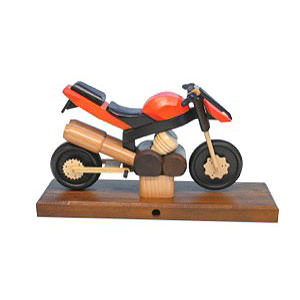 Räuchermänner Hobbies Räuchermotorrad Sport orange 27x18x8 cm