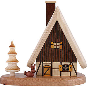 Räuchermänner Sonstige Figuren Rauchhaus auf Sockel, natur - 16x15,5x10 cm