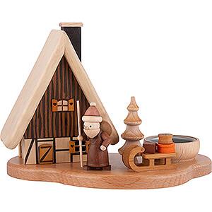 Räuchermänner Weihnachtsmänner Rauchhaus mit Weihnachtsmann auf Sockel, natur - 16x21,5x12 cm