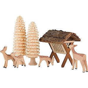 Kleine Figuren & Miniaturen Tiere Rehe und Hirsche Rehgruppe - 7 teilig