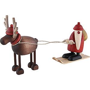 Small Figures & Ornaments Björn Köhler Mrs. Claus etc. Rudolf the Reindeer with Santa Claus on Ski - 12 cm / 4.7 inch