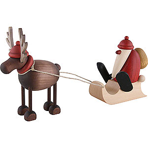 Small Figures & Ornaments Björn Köhler Mrs. Claus etc. Rudolf the Reindeer with Santa Claus on a Sledge - 12 cm / 4.7 inch