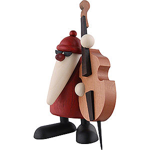 Small Figures & Ornaments Björn Köhler Santa Claus band Santa Claus Playing the Double Bass - 12 cm / 4.7 inch