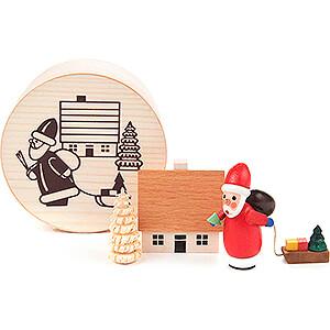 Small Figures & Ornaments Santa Claus Santa Claus in Wood Chip Box - 4 cm / 1.6 inch