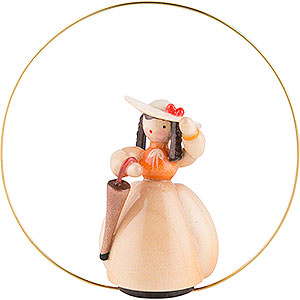 Tree ornaments Misc. Tree Ornaments Schaarschmidt Hat Lady with Umbrella in Ring - 6 cm / 2.4 inch