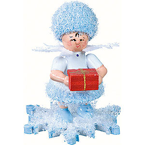 Kleine Figuren & Miniaturen Kuhnert Schneeflöckchen Schneeflöckchen mit Geschenkpäckchen- 5 cm