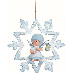 Christbaumschmuck Kuhnert Schneeflöckchen Schneeflöckchen mit Lampion - 7x7x4 cm