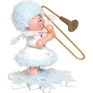 Kleine Figuren & Miniaturen Kuhnert Schneeflöckchen Schneeflöckchen mit Posaune - 5 cm