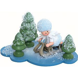 Kleine Figuren & Miniaturen Kuhnert Schneeflöckchen Schneeflöckchen mit Schlitten - 10x7x6 cm