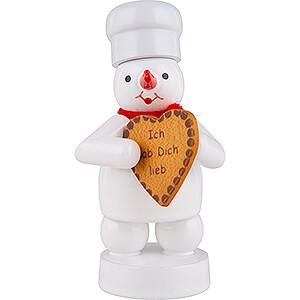 Kleine Figuren & Miniaturen Zenker Schneemänner Schneemann Bäcker mit Lebkuchen-Herz - 8 cm