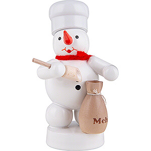 Kleine Figuren & Miniaturen Zenker Schneemänner Schneemann Bäcker mit Mehlsack und Schaufel - 8 cm