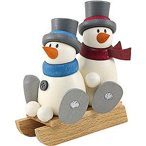 Kleine Figuren & Miniaturen Fritz & Otto (Hobler) Schneemann Fritz und Otto auf Schlitten - 9 cm