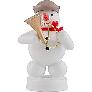 Kleine Figuren & Miniaturen Zenker Schneemänner Schneemann Musikant mit Fanfare - 8 cm